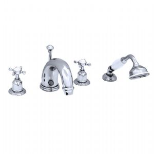 "3249 Perrin & Rowe 10"" Four Hole Bath Tap Set Crosshead"